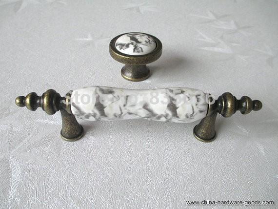 dresser knobs drawer pull handles / kitchen cabinet door handle ceramic crackle / marble look ...