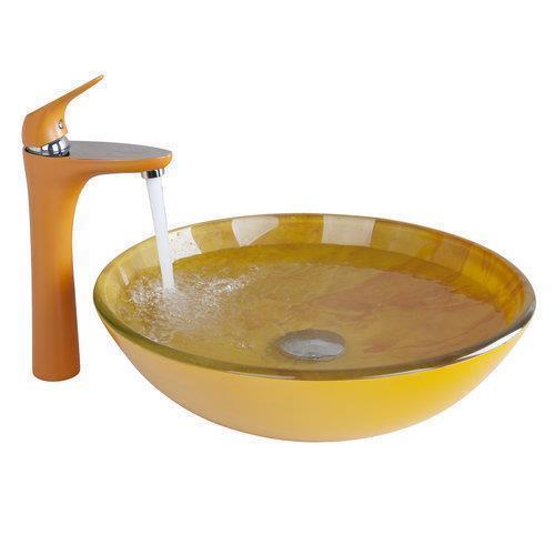 Bathroom Sink Hand Painted Washbasin Orange Basin Single