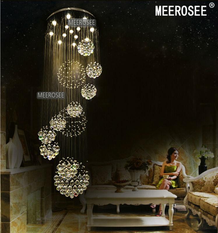 Large Crystal Chandelier Lighting: modern large crystal chandelier light fixture for lobby, staircase, stairs,  foyer long spiral,Lighting